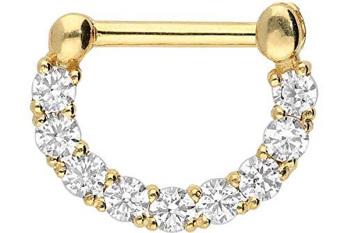 PIERCINGLINE 18 Karat Gold Clicker mit 9 Kristallen | Piercing für Septum Helix Tragus | Farbauswahl