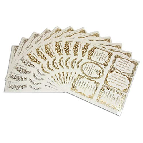 Set 7 Cards//Scrapbooks 12 Sheets Mixed Silver//Gold Peel Off Stickers