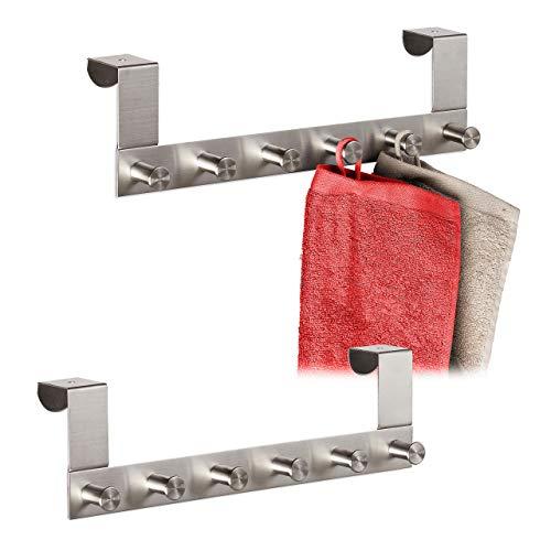2 x Türgarderobe, Kleiderhaken aus Edelstahl, 6 Haken, stumpfe Türen bis 4 cm, Türhakenleiste zum Einhängen, silber