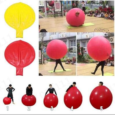 Round Latex Giant Balloons 72inch Giant Human Balloons Climb-in Balloon Birthday Party Inflatable Air Decoration (Red)