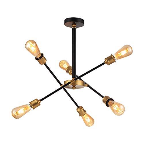 Kroonluchter hanglamp modern hanglamp kroonluchter verlichting hanger hanglamp metaal E27 × 6 woonkamer licht decoratieve verlichting binnen lamp keuken kluis lamp restaurant goud L20,5 × H24,4 in