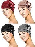 4 Pieces Turban Flower Head Wrap Beanie Scarf Cap Hair Loss Hat for Men and Women (Wine Red, Khaki, Black, Grey)