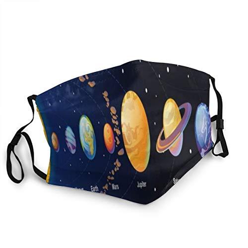 LASINSU Gesichtsbedeckung,Venus Orbit Stern Sonnensystem Galaxie Universum Mars Komet Planet Realistische Globus Planeten Zusammenfassung,Unisex Wiederverwendbar Winddicht Staubschutz Mund Bandanas