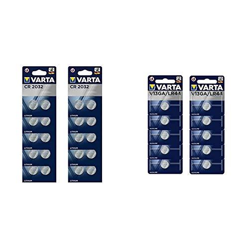 VARTA CR2032 Lithium Knopfzellen 3V Batterie in Original Blisterverpackung, 20er Pack & V13GA/LR44 Alkaline Knopfzellen Batterie in Original Blisterverpackung, 10er Pack