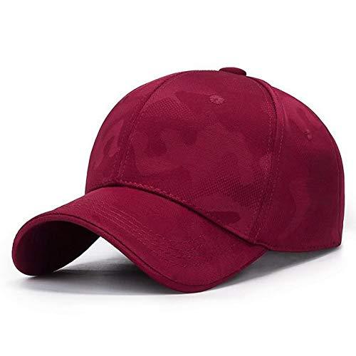 Gorra de Malla para Mujer, Sombreros de Verano de Camuflaje para Mujeres, Hombres, sombrilla Unisex, Gorra Deportiva Transpirable al Aire Libre, Gorra Simple de Ocio-Cloth red-55-60CM