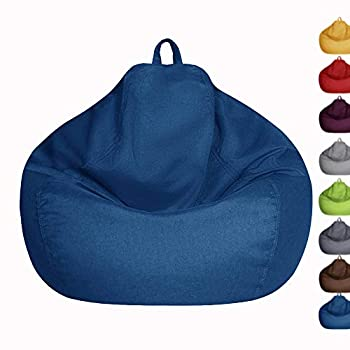 Bean Bag Chair Cover Only Without Filling - Extra Large Stuffed Animal Storage&Memory Foam - Washable Premium Soft Cotton Linen Sturdy Zipper Beanbag Case Sack Bean Bag for Adults,Kids,Teens