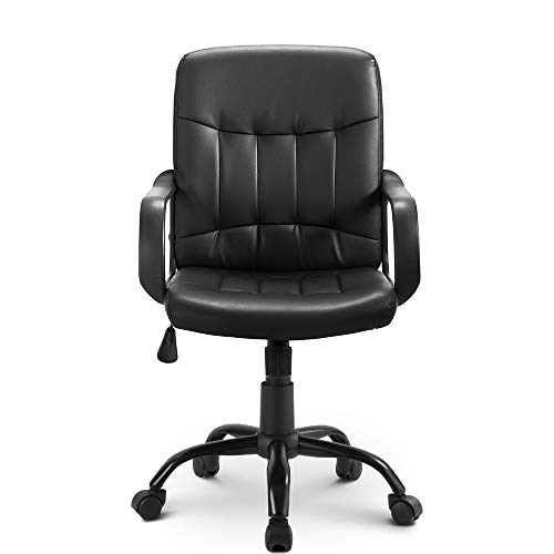 Black Leather Office Chair Ergonomic Executive Office Chair Swivel Chair Comfortable Home Desk Chairs Faux Leather Seat