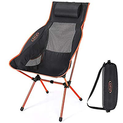 G4Free Folding Camping Chair, High Back Lightweight Camp Chair with Removable Pillow, Side Pocket & Carry Bag, Compact & Heavy Duty for Outdoor, Picnic, Festival, Hiking, Backpacking (Orange)