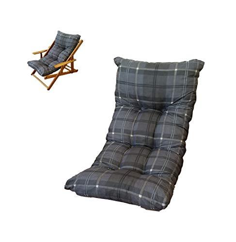 Liberoshopping Coussin rembourré de rechange pour fauteuil relax chaise longue gris foncé à damier