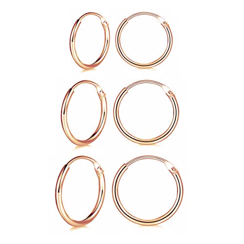 Shuxin Silver Hoops Earrings for Women, 3 Pairs 925 Sterling Silver Rose Gold Hoop Earrings Set for Girls, Hypoallergenic Small Sleeper Cartilage Hoops Rings, Thickness 1.2 mm, Diameter 10, 12, 14mm