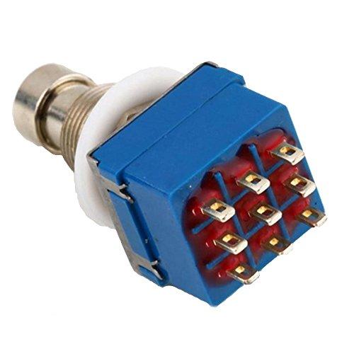E Support™ 3PDT 9 Pins Box Stomp Gitarren-Effekt-Pedal Fußschalter True Bypass Metall Blau