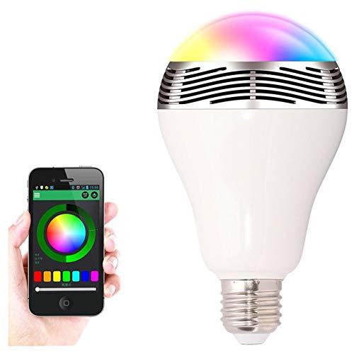 Lampadina LED Wireless Smart Bluetooth 4.0 E27 con altoparlante Riproduce Musica 12W rgb Luce Dimmerabile Colorata Compatibile con iPhone iOS/Android, per feste, luce da atmosfera