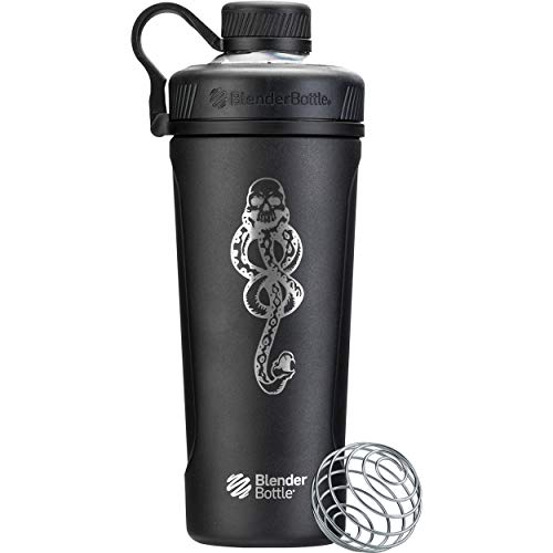BlenderBottle Harry Potter Radian Shaker Cup Insulated Stainless Steel Water Bottle with Wire Whisk, 26-Ounce, Dark Mark