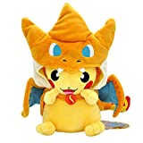 CVBA PokemonMuñeco De Peluche 23Cm Pikachu En Un AbrigoCosplayVestido CruzadoCharizardJuguetes De Peluche Suaves Boca Abierta