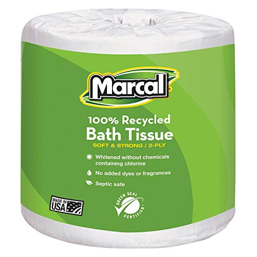 Marcal Small Steps 100% Recycled Two-Ply Bathroom Tissue, 2-Ply, 336 Sheets - Includes 48 Rolls.