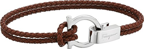 Salvatore Ferragamo Double Wrap Bracelet Bark Brown One Size