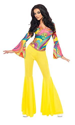 Smiffy's - 30445 - 70'S Groovy Babe Costume - Femme - Multicolore (jaune) - S (36-38 EU)
