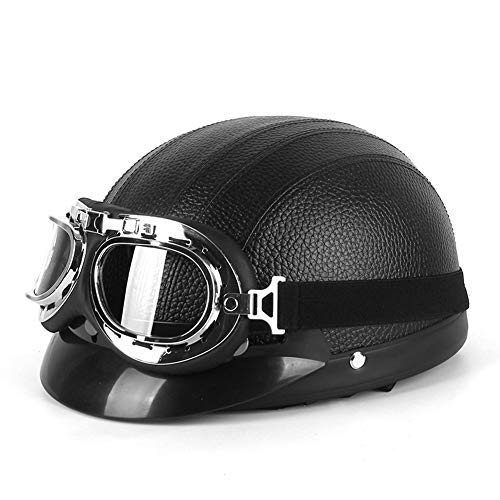 Casco de motocicleta vintage para adultos,cascos de cara abierta,medio casco retro de PU con gafas,casco protector unisex con protección solar para ciclomotor para hombres y mujeres (57-62 cm)(Color: