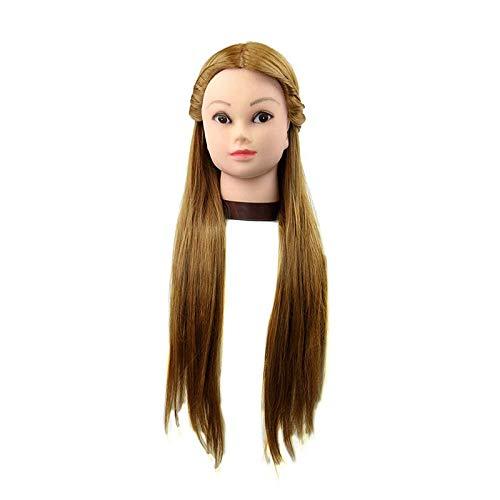 MARGUERAS Tête à coiffer Professionnelle Claudia - 65 cm Cheveux + Support/Tête d'apprentissage Femme Coiffure 65cm 30% Vrais Cheveux Humains Modèle Perruque Longue naturele