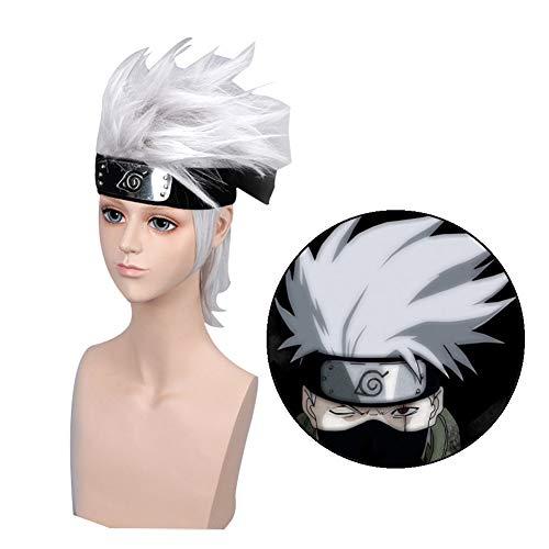Haushele OFD Perücke Anime Cosplay Naruto kakashi Wig Silbergrau Gemischt Hitzebeständige Faser Anime Liebhaber Mode Party Perücke(Perücke + Haarband)