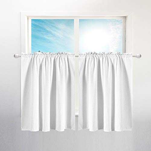 """Waffle Weave Half Window Tier Curtains: 36 Inch Short Length for Small Window in Kitchen & Bathroom, Waterproof and Washable - White, 36""""x36"""" for Each Panel, Set of 2"""