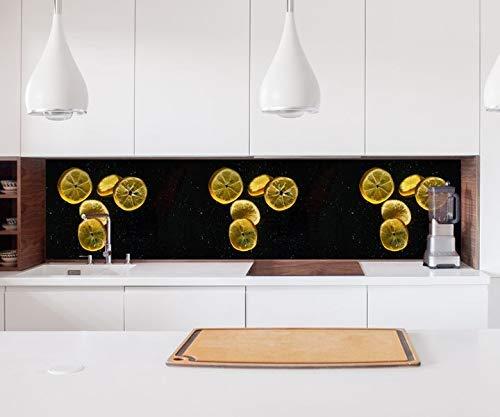 Aufkleber Küchenrückwand Zitrone geschnitten Orange gelb Küche Folie selbstklebend Dekofolie Fliesen Möbelfolie Spritzschutz 22B047, Höhe x Länge:60cm x 60cm