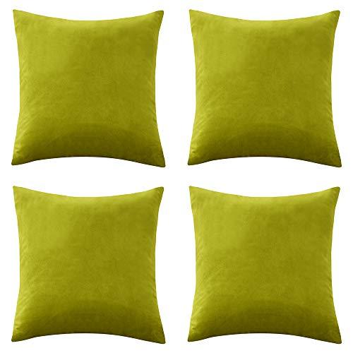 Renmei Kissenhülle aus Samt für Sofa, 45 x 45 cm, glatt, weich, für Schlafzimmer, mit unsichtbarem Reißverschluss, 4 Stück, grün, 40cmx40cm,4 Pieces