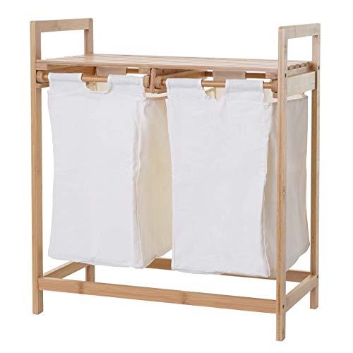 Mendler Wäschesammler HWC-B83, Laundry Wäschesortierer Wäschebox Wäschekorb Wäschebehälter, Bambus 2 Fächer 74x64x33cm 70l