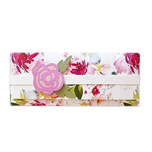 Porta soldi - peonia - cerimonie - matrimonio - busta portasoldi (formato 22 x 9,5 cm) + biglietto d'auguri vuoto all'interno - ideale per il tuo messaggio personale - realizzato interamente a mano.