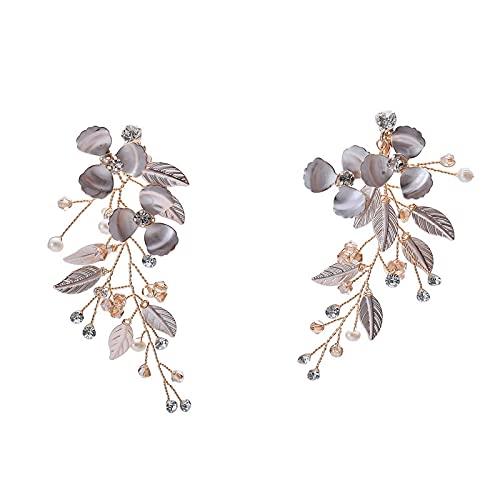 xuyang Tiara de lujo de perlas de agua dulce con pendientes de boda, joyería para el pelo de novia, tiaras vintage de moda (color metálico: pendientes)