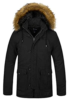 Wantdo Men's Casual Winter Thick Hooded Heavy Cotton Padded Jacket Coat XX-Large Black from