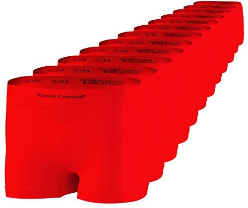 Pack de 12 Calzoncillos Tipo bóxer sin Costuras Hombre (L/XL, Rojo)