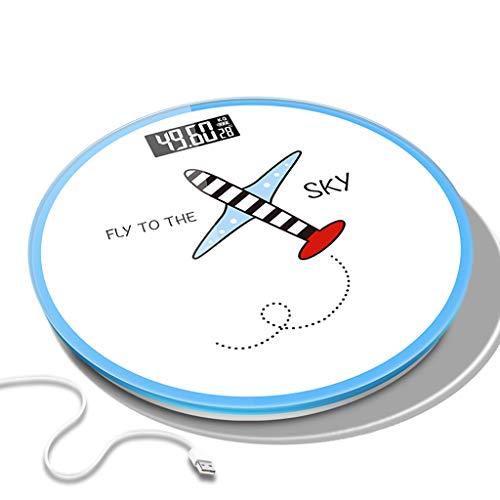 USB-lader elektronische weegschaal op menselijke schaal nauwkeurig huis vliegtuigen rond glas draagbaar