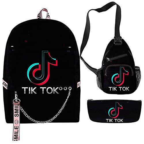 YuanRuiWMS Tiktok, juego de mochila escolar para estudiantes, 3D impresión bolsa escolar lindo niños mochila, mochila escolar para niños, caja de almuerzo, caja de lápices (color: A9)