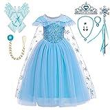 Lito Angels Vestido Princesa Elsa la Reina de las Nieves con Capa y Accesorios, Disfraz Frozen Reino del Hielo para Niñas, Talla 3-4 años, C