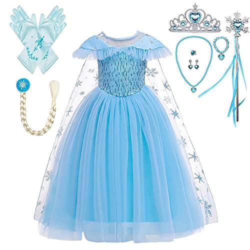 Lito Angels Vestido Princesa Elsa la Reina de las Nieves con Capa y Accesorios, Disfraz Frozen Reino del Hielo para Niñas, Talla 4-5 años, C