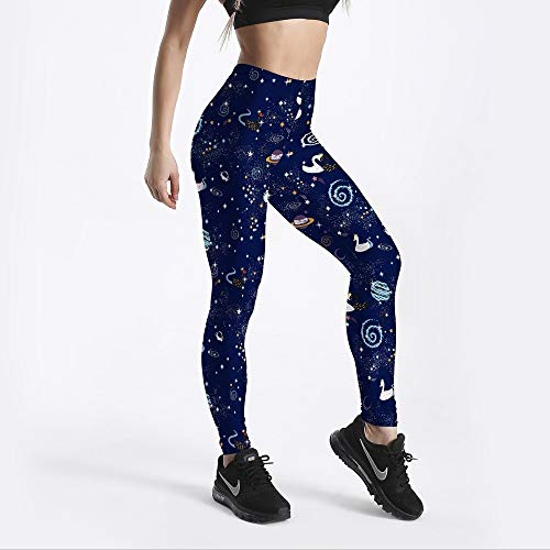 YUYOGAQ Leuke Women'S Leggings Galaxy Fancy Met Zwaan Gedrukte Leggings Mid Taille Leggings Workout Fitness Casual Broek