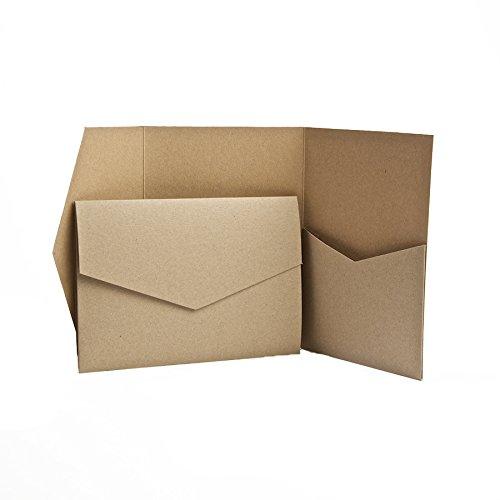 Pocketfold Invites, Einladungskarten, recycelt, 130 x 185 mm, mit recycelten Umschlägen braun