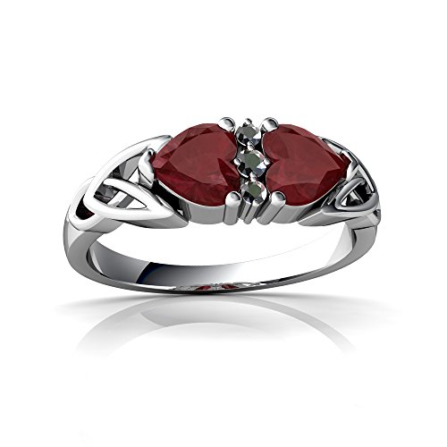 14kt White Gold Ruby and Diamond 5mm Heart Celtic Trinity Knot Ring - Size 5.5