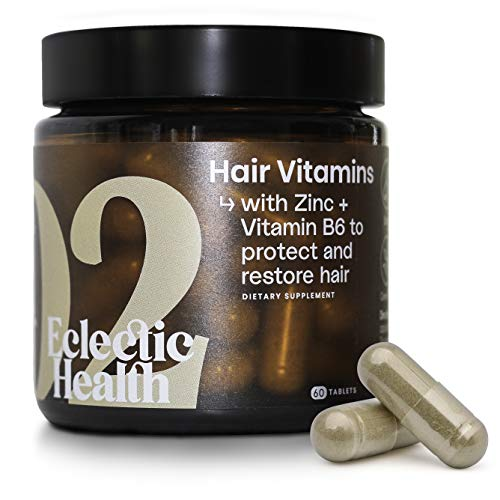 Eclectic Health Daily Hair Growth Supplements with Vitamin B5 & B6, Zinc, Selenium, Turmeric Extract & Biotin – Made in UK (60 Capsules)