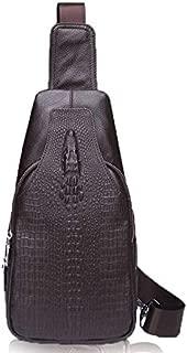 Lcxliga Fashion Shoulder Bag Men Chest Bag Genuine Leather Leisure Shoulder Bag Top Layer Crocodile Pattern Crossbody Bag for Men (Color : Brown)