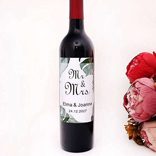 PMSMT 20 unids/Lote Creativo Personalizado Mr & Mrs Botella de Vino de recién Casados Pegatina Adhesiva Decorativa Favor de Fiesta Etiquetas de Aniversario Personalizadas
