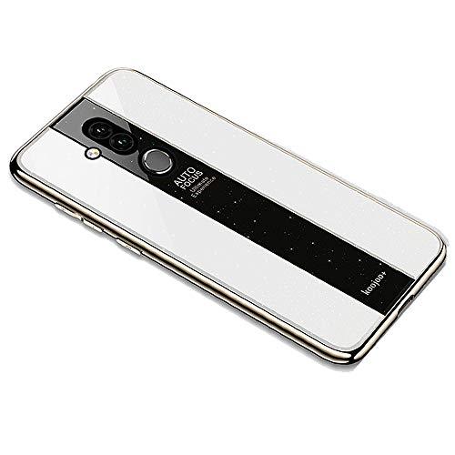 Miagon Überzug Hülle für Huawei Mate 20 Lite,Glänzend Glitzer Überzug Plating Rahmen Ultra Dünn Hart PC Handyhülle Schutzhülle Tasche Weich Case Bumper für Huawei Mate 20 Lite,Weiß