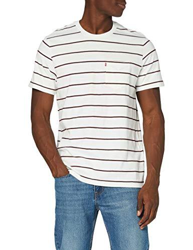 Levi's Relaxed Fit Pocket Tee Maglietta Tascabile dalla Forma Rilassata, Saturday Stripe Tofu, L Uomo