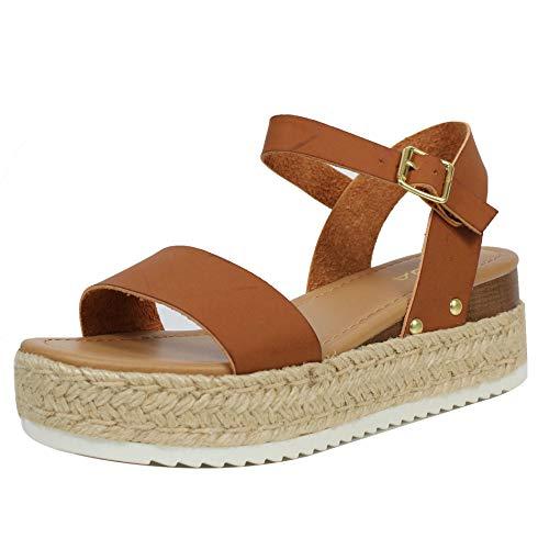 Soda Clip Topshoe Avenue Women's Open Toe Ankle Strap Espadrille Sandal (7.5, Cognac-CLP)
