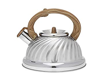 Tea Kettle with Wooden Handle Stainless Steel Whistling Teapot - 3.0 Litre