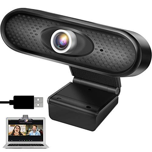 ANGGO Webcam 1080P HD con Microfono, USB Webcam Streaming Web Camera per PC, Laptop, Videochiamate, Studio, Conferenza, Zoom, Youtube, Skype, FaceTime con Clip Ruotabile