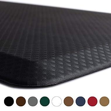 Kangaroo Brands Original 3/4  Anti Fatigue Comfort Standing Mat Kitchen Rug, Phthalate Free, Non-Toxic, Waterproof, Ergonomically Engineered Floor Pad, Rugs Office Stand up Desk, 32x20 (Black)