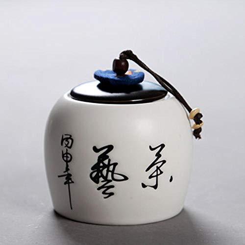 Houer Keramiek theedoos aardewerk groene thee stropdas guan yin jin juan meiopslag theebuskoffie container, wit 2