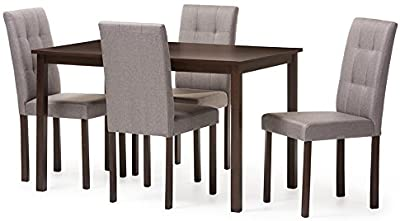 Amazon Com Baxton Studio Andrew 5pc Grey 9 Grids Dining Set Gray Table Chair Sets
